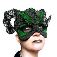 Green and black horned masquerade mask, unisex, costume, handmade, gothic, new years