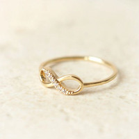 Gold Infinity ring, gold infinity midi ring, silver ring, delicate ring, eternity ring, thin ring, diamond, crystal ring