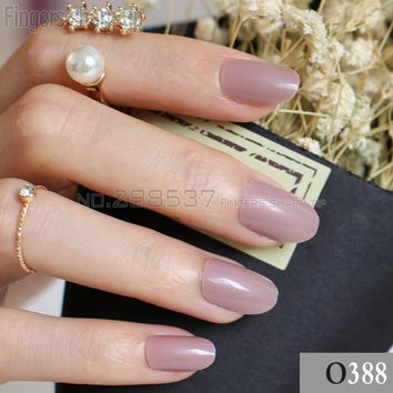 24pcs new product sales long small round Light coffee brown  oval head fake nail fit comfortable DIY nail candy color R26 388
