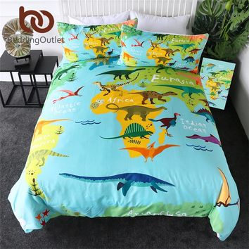 World Map With Dinosaurs Duvet Cover Sets