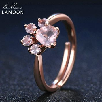 LAMOON Rings Shadow Bear's Paw Natural Pink Rose Quartz Ring 925 Sterling Silver Fine Jewelry Romantic Wedding Bands Anillos New
