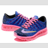 """NIKE"" Trending Fashion Casual Sports Shoes AirMax Toe Cap hook section knited blue pink lace up pink soles"