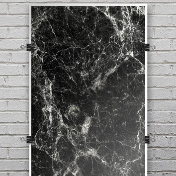 Black Scratched Marble - Ultra Rich Poster Print
