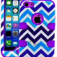 myLife Purple + Blue Zig Zag Style 3 Layer (Hybrid Flex Gel) Grip Case for New Apple iPhone 5C Touch Phone (External 2 Piece Full Body Defender Armor Rubberized Shell + Internal Gel Fit Silicone Flex Protector)