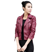 2016 Women Leather Motorcycle Zipper collar Punk Coat Biker Jacket Outwear Fashion Newest