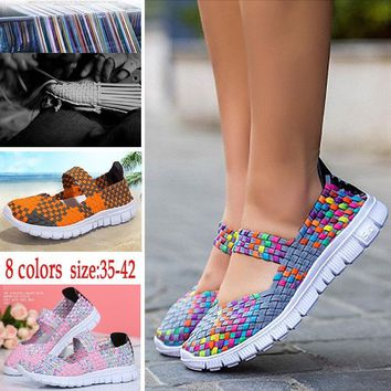 2017 Women's Fashion Casual Running Shoes Rainbow Ladies Summer Sports Shoes Woven Mesh Flat Shoes