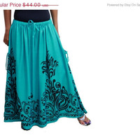 ON SALE Maxi Skirt / Long Skirt in Green and Black with Two Pockets / OOAK / Ready to Ship