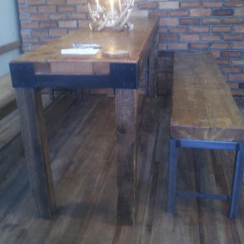 "Industrial intimate dining table. We make them in any size. 84"" l x 24"" w x 30"" tall"