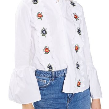 Topshop Embroidered Scallop Top | Nordstrom