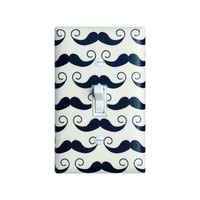 Mustcahe Light Switch Plate Cover / Geekly Mustache in White Black Cream / Geekly Chic Riley Blake