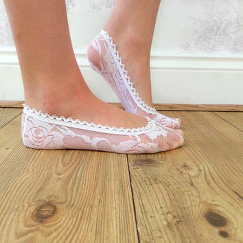 White Lace Peep Socks, Crochet Lace Footsie Socks, Lace Boat Socks, Shabby Chic, Fashion Accessory, Fashion Socks, Teen Gift Ideas