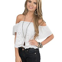 Flying Tomato Women's White with Floral Eyelet Short Sleeve Peasant Crop Top