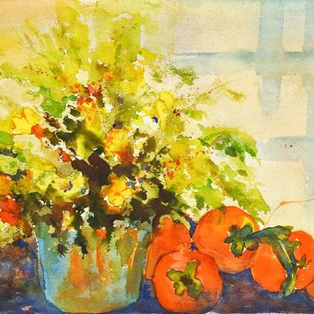 Persimmon & Floral Still Life Watercolor Painting
