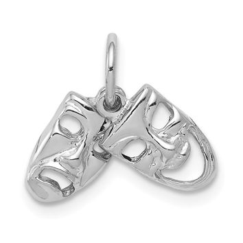 14k White Gold Small Comedy and Tragedy Mask Charm