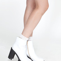 Leather Tread Boot White