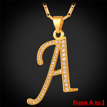 Collare A to I 26 Alphabet Letter Pendant Necklace Men Jewelry Gold Color Initial Letter Charm Necklace Women Men Jewelry P167