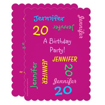 20th Birthday Party Invitation Hot Pink, Names
