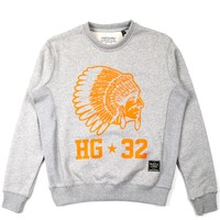 Grand Hustle Gang WYL Crewneck Sweatshirt - Heather with Orange