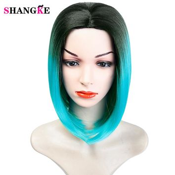 SHANGKE Ombre Blue Wig Synthetic Hair Short Wigs for Black Women Bob Straight Hair High Temperature Fiber