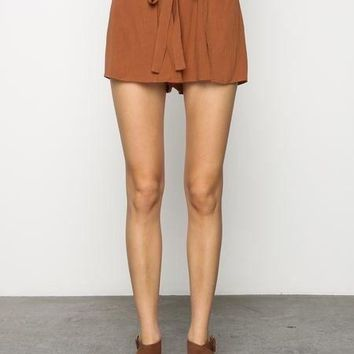 LILY RUST TIE FRONT SHORTS