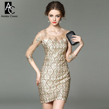 spring summer designer runway women dresses golden event dress beaded collar vintage pattern embroidery high quality brand dress