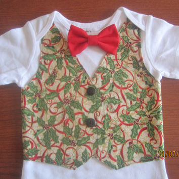 Boy red green vest Onesuit, Boy Christmas bodysuit, Boy red green Onesuit, boy green red outfit, Boy Xmas vest shirt, Boy red green vest