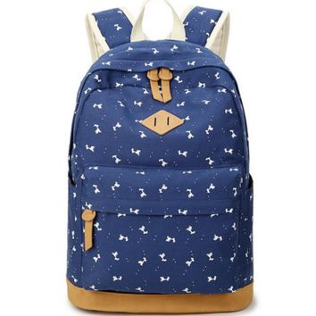 Animal Pattern Cute Travel Bag Canvas College Backpack
