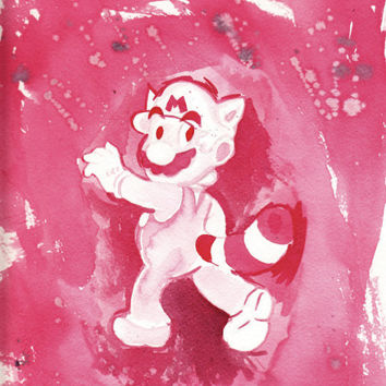 Raccoon Mario Minimalist Red 9x12 Watercolor Painting