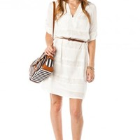 Lace Stripe Shift Dress in White - ShopSosie.com