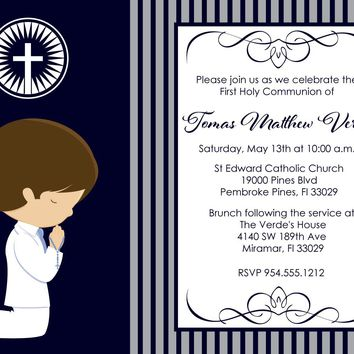 Boy Praying First Communion Invitations