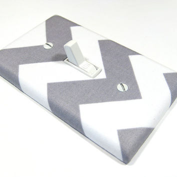 White and Gray Chevron Riley MEDIUM Light Switch Cover Switch Plate Modern Home Decor Grey Cyber Monday Black Friday Etsy 986