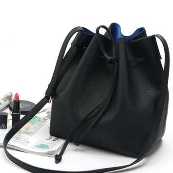 Black PU Drawstring Contrast Lining Crossbody Bucket Bag