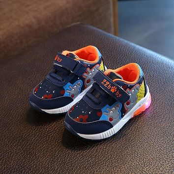 2018 European LED colorful lighting boys girls toddlers animation glitter fashion kids sneakers cartoon lighted children shoes