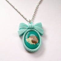 Hedgehog Necklace Mint Cameo Necklace by KitschBitchJewellery