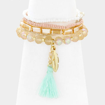 5 PCS Mint Multi-Color tassel & gold feather charm beaded stack stretch bracelets