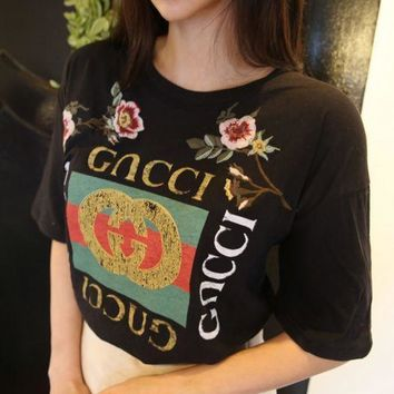 PEAPNI GUCCI Fashion Loose Embroidery Roses Print Shirt Top Tee