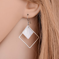 2017 New Minimalist Brief Cool Style Silver Plated Alloy Square White Shell Dangle Fashion Earrings For Women Jewelry Brincos