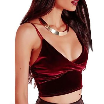 Bralette Stylish Beach Summer Comfortable Hot Spaghetti Strap Bra Velvet Sexy Vest [10467569044]