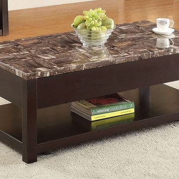 Acme 82127 Dusty collection faux marble top and espresso finish wood coffee table