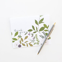 Floral Thank You Card Set of 8 | Illustrated Floral Stationery : Wild Garden Collection