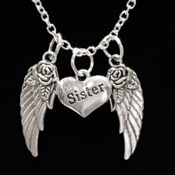 Sister Heart Guardian Angel Wing In Memory Heaven Charm Necklace