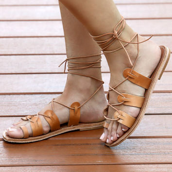 35% Off Womens Tan Leather Lace Up Gladiator Sandals, Tie Up Sandals, Flat Lace Up Sandals, Gladiator Sandals, Tie Up Leather Flats, Strappy