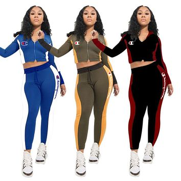 Champion 2019 new women's letter printing sports suit two-piece
