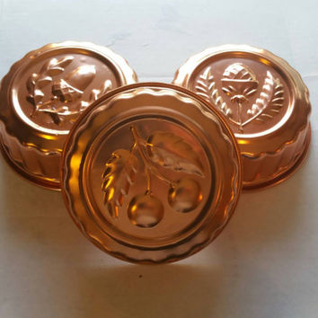 Lot of 3 vintage copper jello mold, fall theme