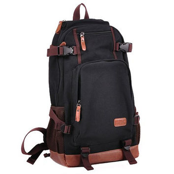 Backpack With Buckles and Color Block Design