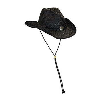 L/XL Black Straw Cowboy Hat w/ Chin Strap, Concho Accent and Shapeable Brim