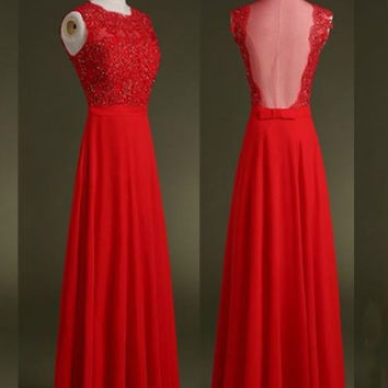 Red Chiffon A-Line Sleeveless Prom Dresses