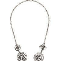 Silver-Colored Medallion Necklace - Silver