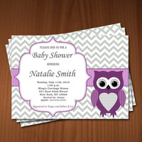 Owl Baby Shower Invitations Girl Baby Girl Shower invitations Printable Baby Shower Invites FREE Thank You Card - editable Download violet