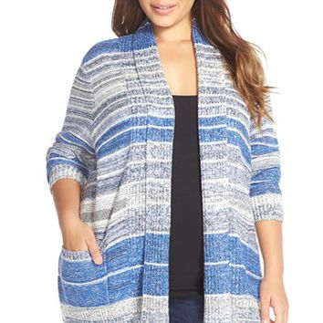 Plus Size Women's Lucky Brand Stripe Sweater Jacket,